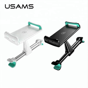 USAMS 360 Adjustable Car Seat Rear Pillow Phone Holder Mount Flat Panel Mobile Bracket For iPhone Samsung iPad