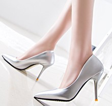 d60349h 2017 Korean women Sexy pointed patent leather stiletto high heel shoes