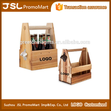 Promotional Custom Bar Desk Decoration Crafts Wooden Basket for Beer Beverage and Wine Bottles Holder with Metal Bottle Opener