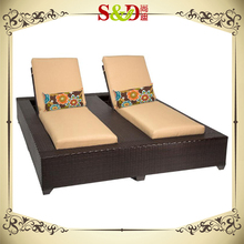 Modern Double Seat Outdoor Rattan Sun lounge for garden