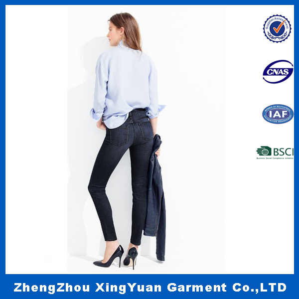 2016 latest design pencil pants women tall waist jeans trousers