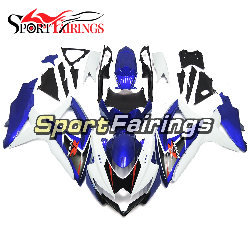 White <strong>Deep</strong> Blue Injection ABS Plastic Complete Fairing For <strong>Suzuki</strong> GSXR600 GSXR750 K8 08 09 10 Motorcycle Fairings