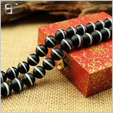 Hot sale Natural White Line Black Matte Onyx tibetan agate gemstone Round Loose beads