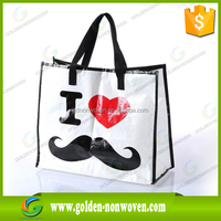 Custom cheap reusable silk screen logo print non woven tote shopping bag/MOQ 5000pcs nonwoven pp spunbond bag grocery usage