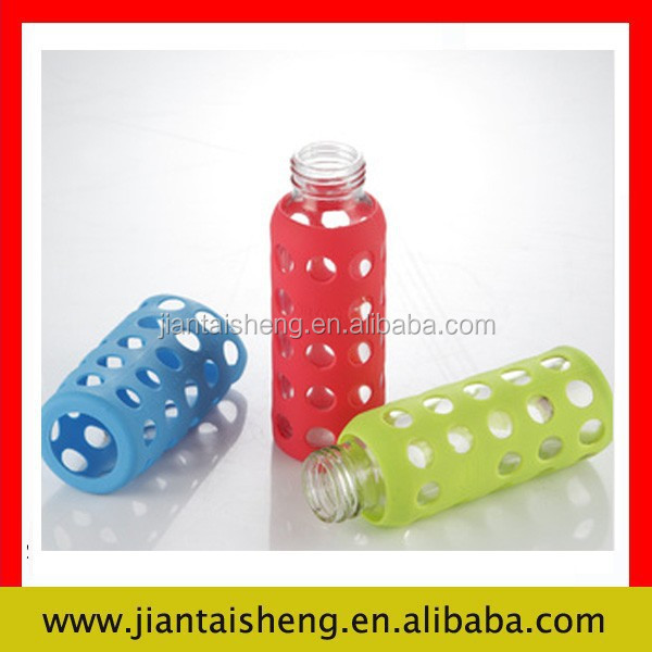 customized silicone bottle sleeve for hot glass bottle from shenzhen factory