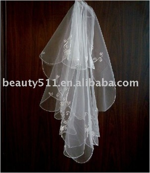 new design white embroidery wedding veil VG028