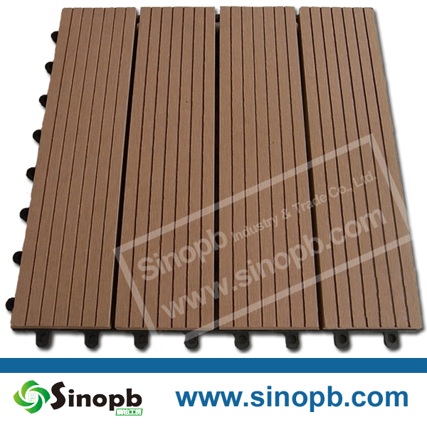 Durable, UV resistant, waterproof wood plastic composite deck tile, plug and play