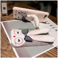 Fashion Cartoon Plush Rabbit Ears Stand Holder hard phone case for iPhone 7 Plus