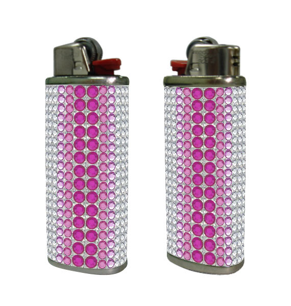 Large diamond cover, rhinestones design, compatible with BIC lighters. lighter case. USA Wholesale.