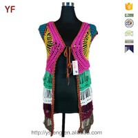 Colorful Woman Sleeveless Long Crochet Cardigan