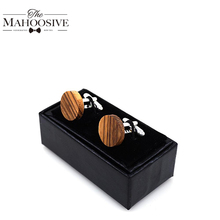 2018 Wood Cufflinks Wedding Groom Anchor Cufflink Shirt Cufflinks For Mens Casual Cuff Link New Fashion Gift box
