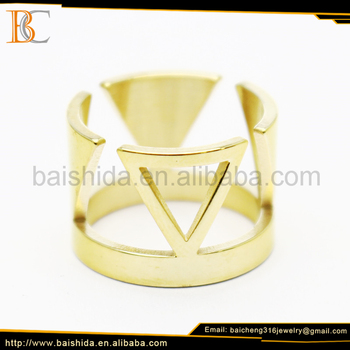 triangle shaped men rings 316l stainless steel jewelry
