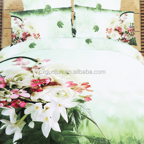 New 100% polyester indian bedding sets Changxing brand bedding sets 3d printed romantic cover set