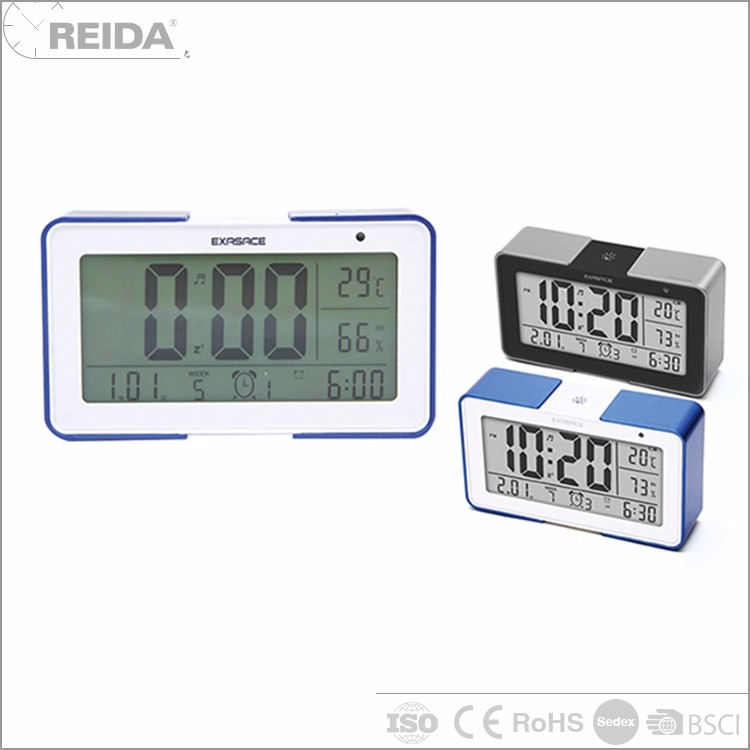 Reida plastic light function temperature and humidity music alarm simple settings date car clock