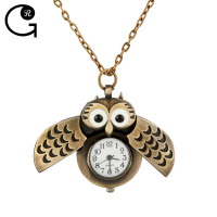 Free sample Wholesale Checkout Fashion Gift Antique Bronze Alloy Owl Openable Cartoon Pendant Vintage Quartz Flip Pocket Watches