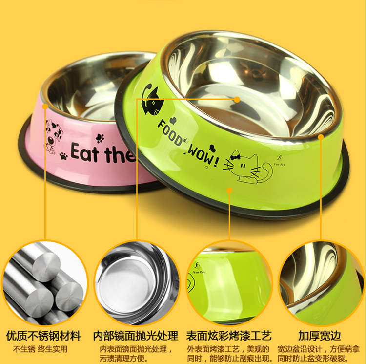 stainless steel stamping cartoon paw print colorful dog pet bowl Made in China