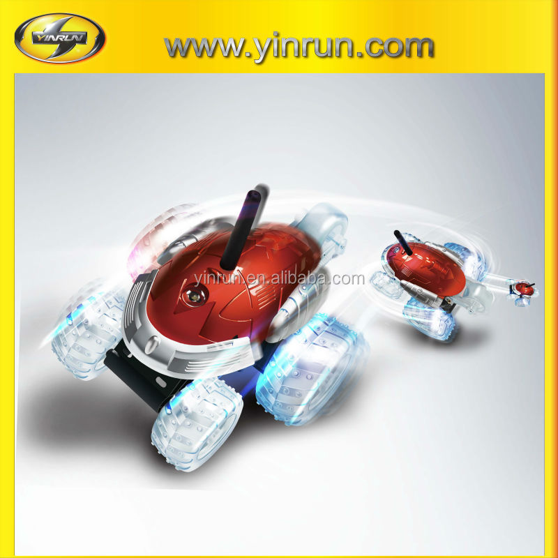 Remote control battery operated five wheels spinning with colourful LED lights crash toy car