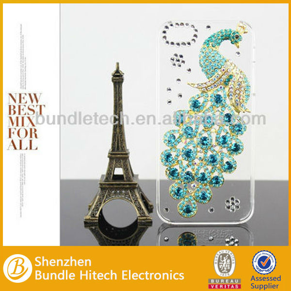 Peacock Design Diamond Rhinestone Case for iPhone 4 4S 5