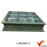 9 Compartment Shabby Green Decorative Flower Planter Trays