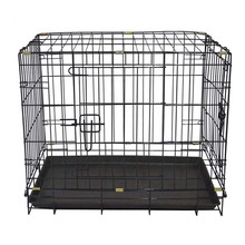 Portable foldable large dog cages crate plastic & wire black new