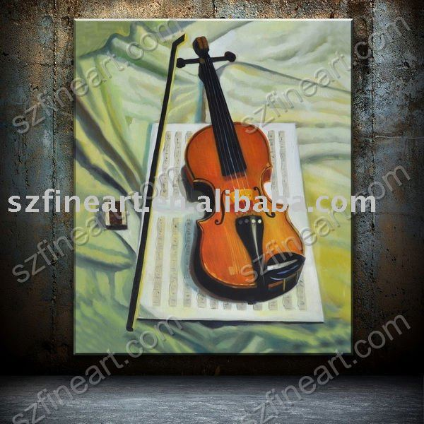 hand painted Musical Instrument painting violin on canvas by skilled artist