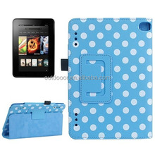 Blue and White Dot Pattern Leather Case with Holder for Amazon Kindle Fire HD 7