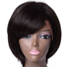 silk top quality 100% malaysian human hair short bob lace front wig with bangs