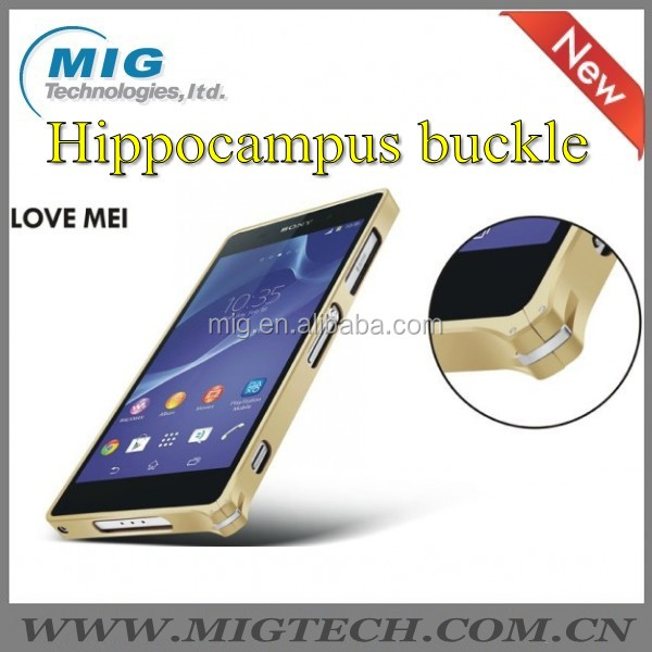 Case for Sony Love Mei Brand Hippocampal Bukle Metal Bumper Case for Sony Z2 for iPhone for Samsung for LG