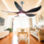 Sitting room new model decorative 5 fan blades electric remote control ceiling fan with led lights