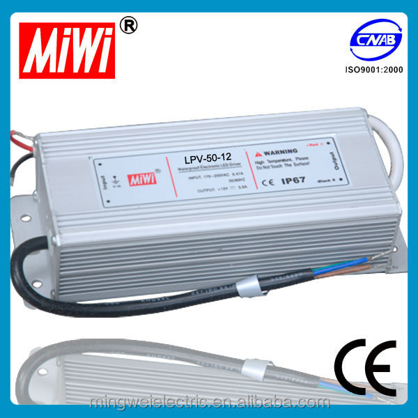 CE approved 12v 4a 50w Ip67 waterproof led driver, amp at 12 volts