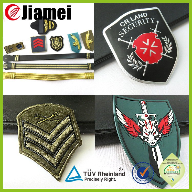 Cheap embroidery military security guard custom badges