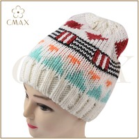 Hot sale white pattern jacquard lady fashion winter acrylic/wool knit hat with pile lining