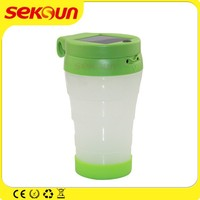Seksun solar powered panel charging light cup plastic bottle 380ml with emergency LED for outdoor