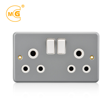 Metal clad double pole 15 amp receptacle 2 gang switched socket
