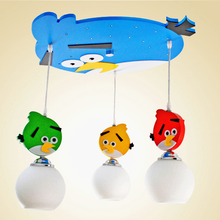 Wooden base kids gift multicolored decorative light bird led ceiling chandelier