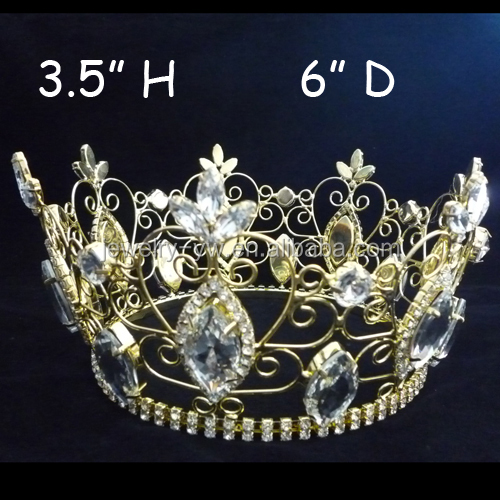 hot sale gold tiara cheap King full round crowns