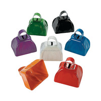 Hot Sale Cheap Promotional Metal School Spirit Color Cowbells, Wholesale Noise Maker Cow Bells for Sporting Events