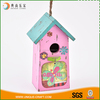 Professional lovely cartoon blue roof pink pet wooden bird house