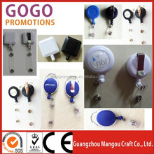 promotional cute custom design retractable badge reels, Solid Color Round Badge Reel / Belt Clip & Clear Vinyl Strap