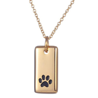 Fashion Stainless Steel Dog Paw Print Pendant necklace for women