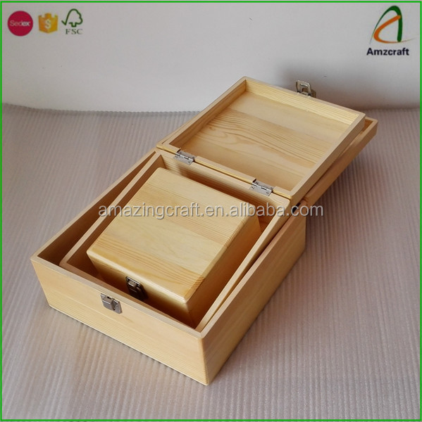 Solid Pine Wooden Craft Christmas Gift Storage Boxes Wholesale