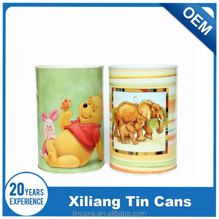 customized round tin cheap piggy bank, coin bank
