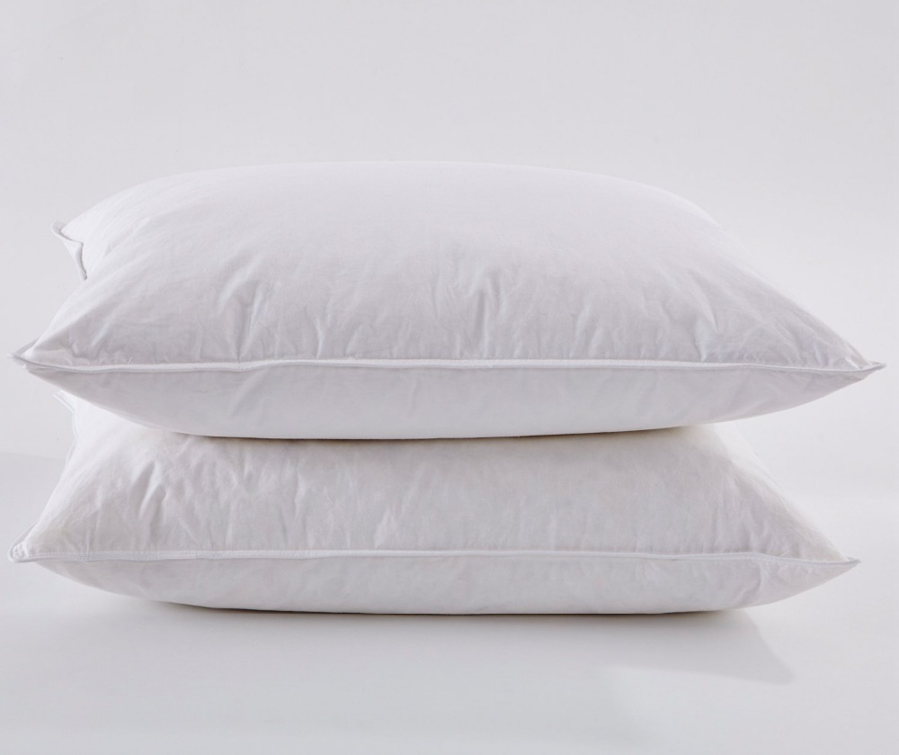 White Goose Down Pillow, Hotel Quality 100% Cotton Cover, Medium Soft Firmness Standard Size, Set of 2