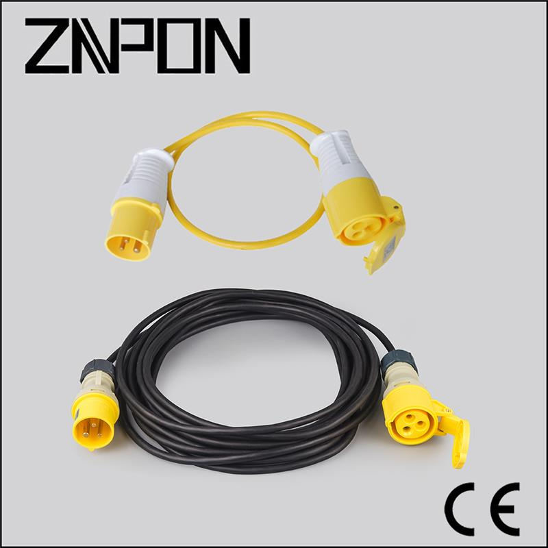 CEE 16A 3 pole 110V 5M H07RN-F 3*1.5mm electrical cords and plugs