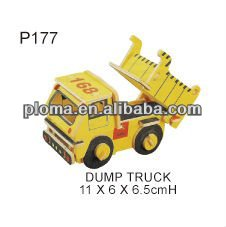 FOR KID - DUMP TRUCK (P177) COLORED WOODEN PUZZLE