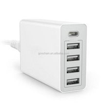 Universal USB Type-C 40W 5 Port USB Wall Charger for mobile and laptop
