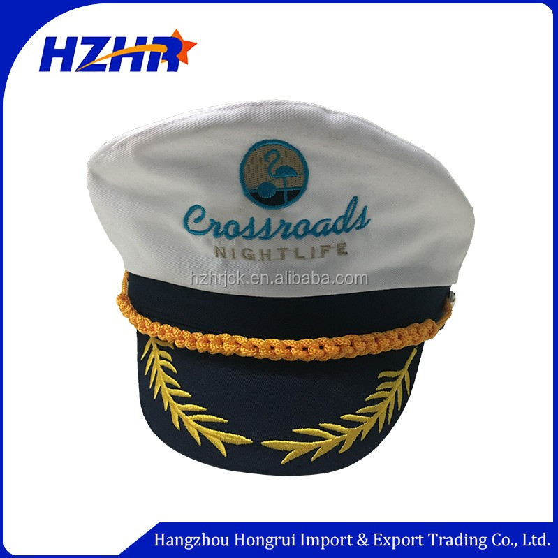 Customized embroidery flat brim military sailor cap uniform Yacht hat white sailor hats for adult