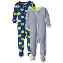 Baby Romper Zip Front Long Sleeve Footed Sleeper Pajamas for Boys