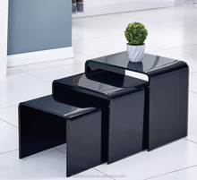 Hot Style Black Tempered Curved Glass Nesting Table
