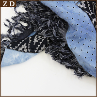 LONG, PALE BLUE POLYESTER SCARF/SHAWL WITH BEAD & TASSEL DESIGN, NEVER WORN